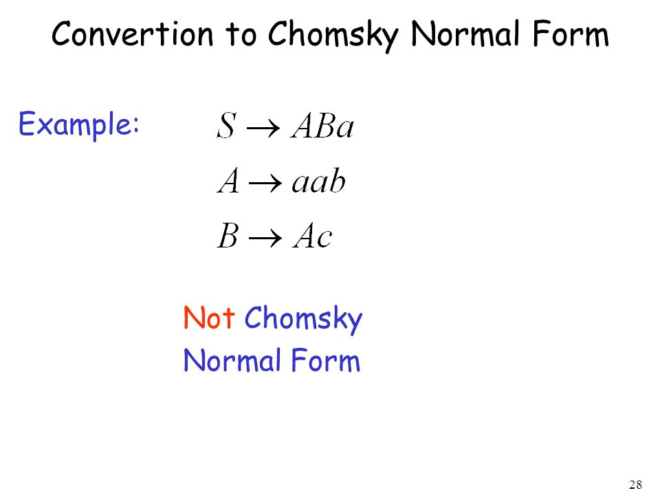 Convertion to Chomsky Normal Form