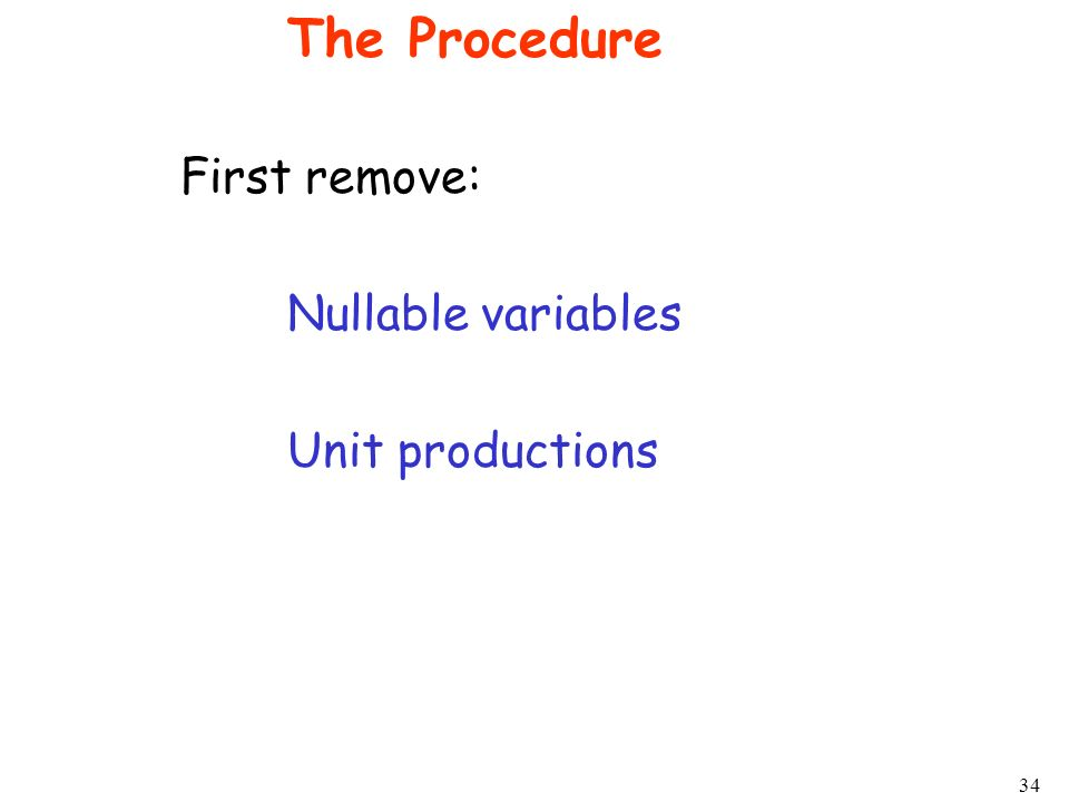 The Procedure First remove: Nullable variables Unit productions