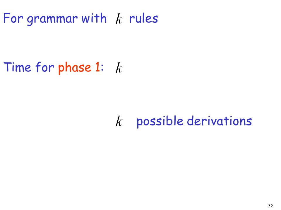 For grammar with rules Time for phase 1: possible derivations