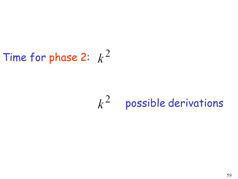 Time for phase 2: possible derivations