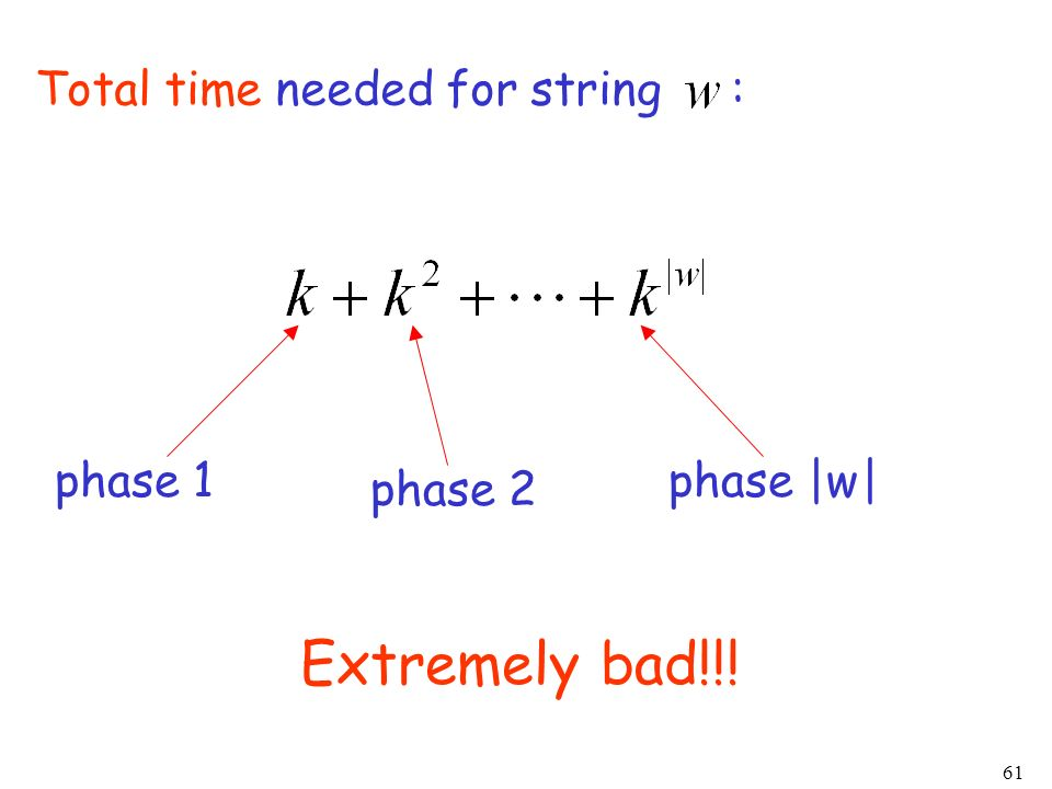 Extremely bad!!! Total time needed for string : phase 1 phase |w|