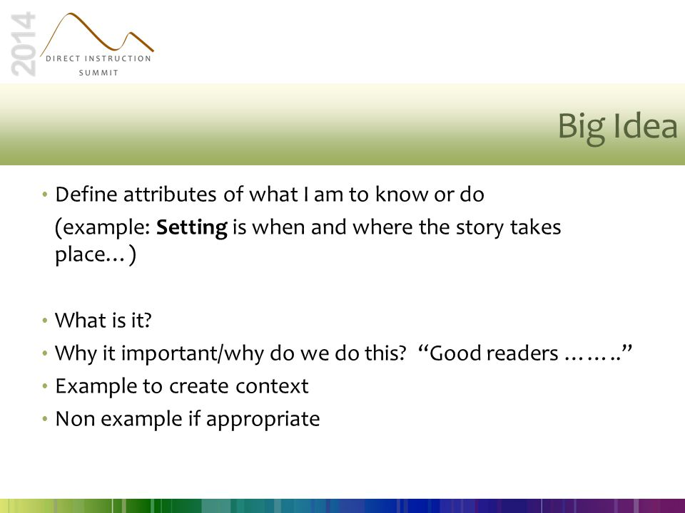 Big Idea Define attributes of what I am to know or do
