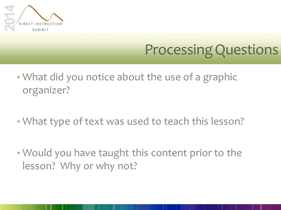 Processing Questions What did you notice about the use of a graphic organizer What type of text was used to teach this lesson