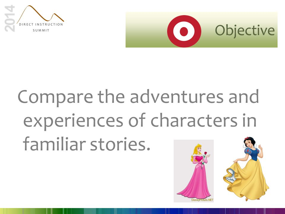 Objective Compare the adventures and experiences of characters in familiar stories.