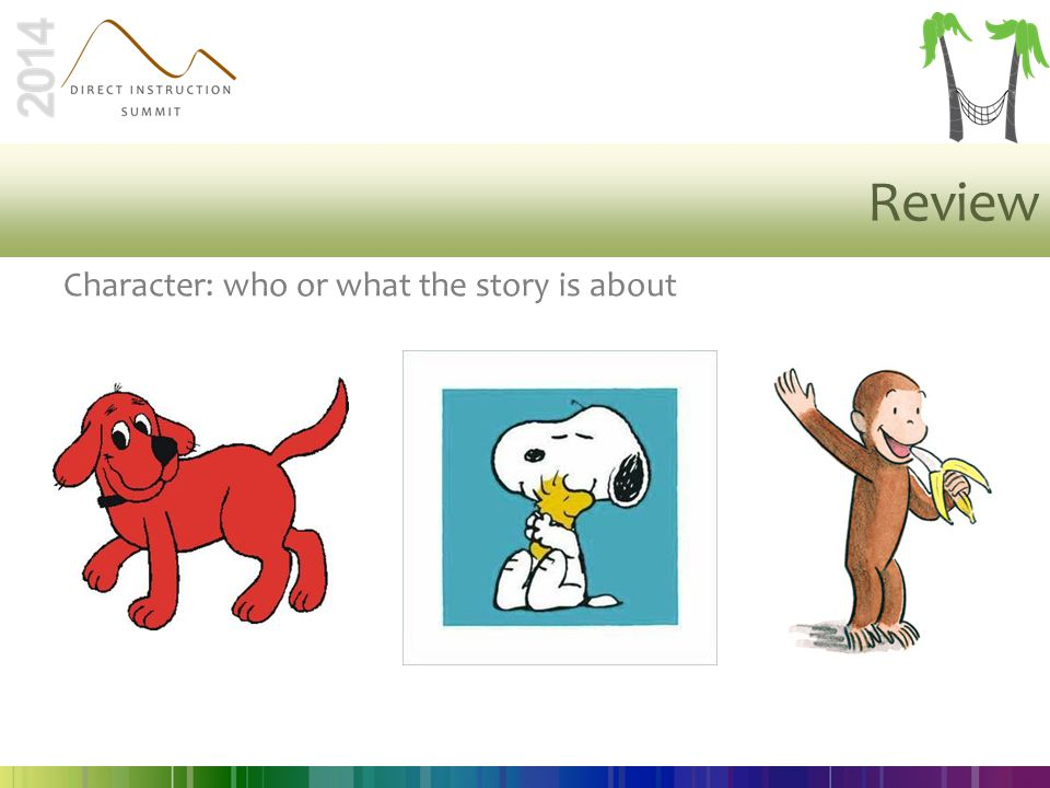 Review Character: who or what the story is about