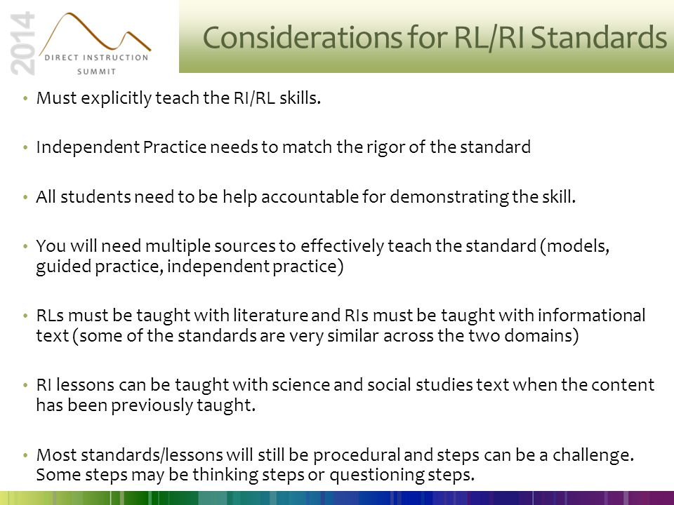 Considerations for RL/RI Standards