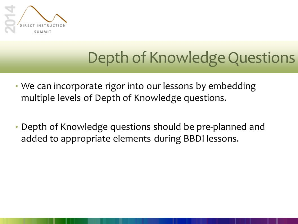 Depth of Knowledge Questions