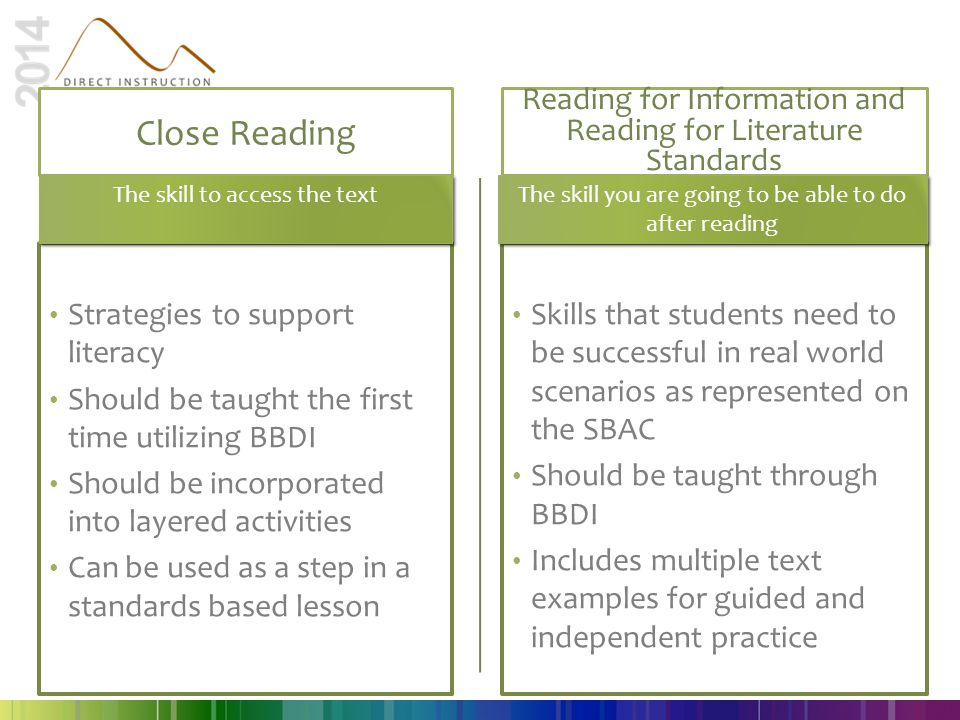 Close Reading Reading for Information and Reading for Literature Standards. The skill to access the text.
