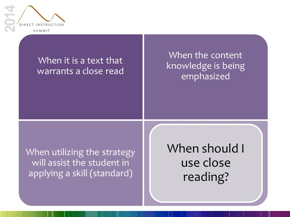 When should I use close reading