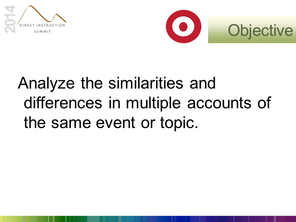 Objective Analyze the similarities and differences in multiple accounts of the same event or topic.