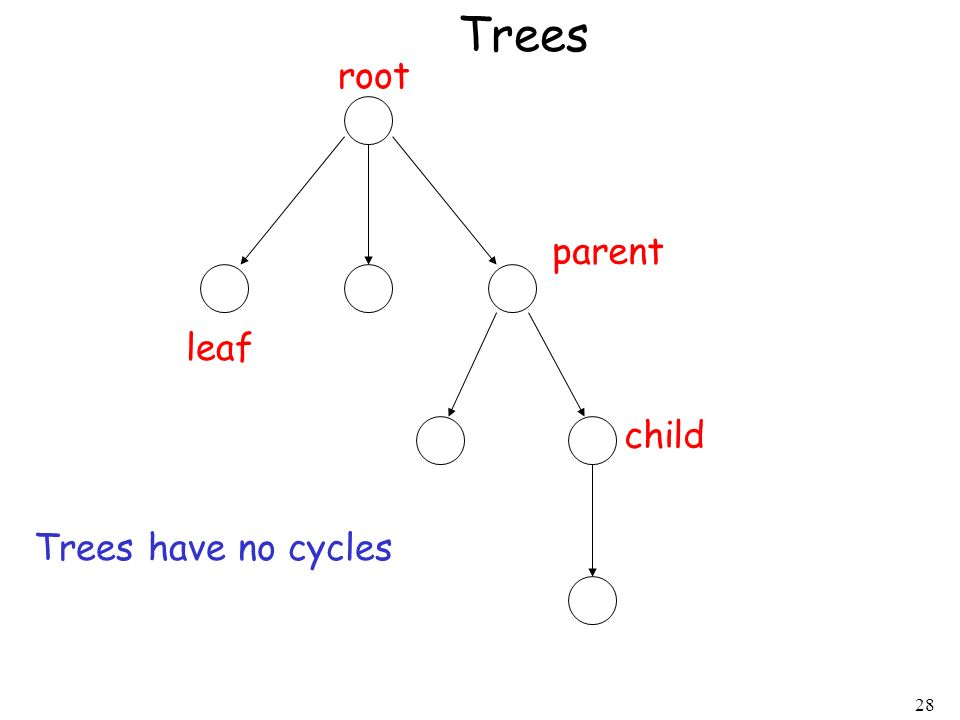 Trees root parent leaf child Trees have no cycles