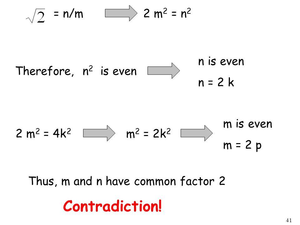= n/m 2 m2 = n2n is even. n = 2 k. Therefore, n2 is even. m is even. m = 2 p. 2 m2 = 4k2.