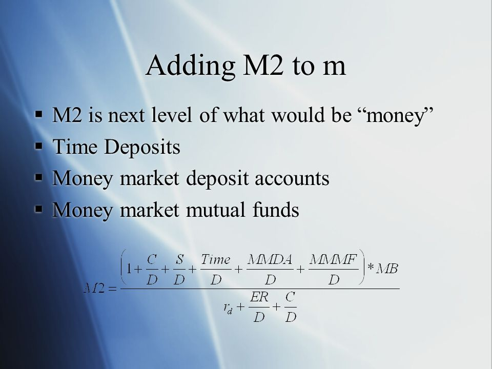 Adding M2 to m M2 is next level of what would be money Time Deposits