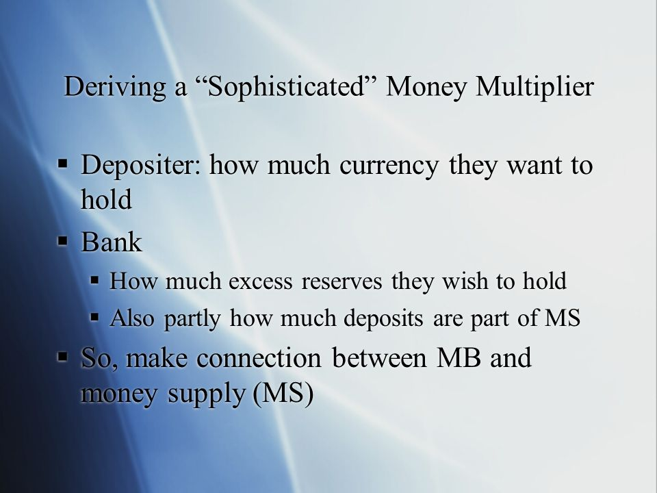 Deriving a Sophisticated Money Multiplier