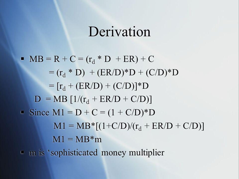 Derivation MB = R + C = (rd * D + ER) + C