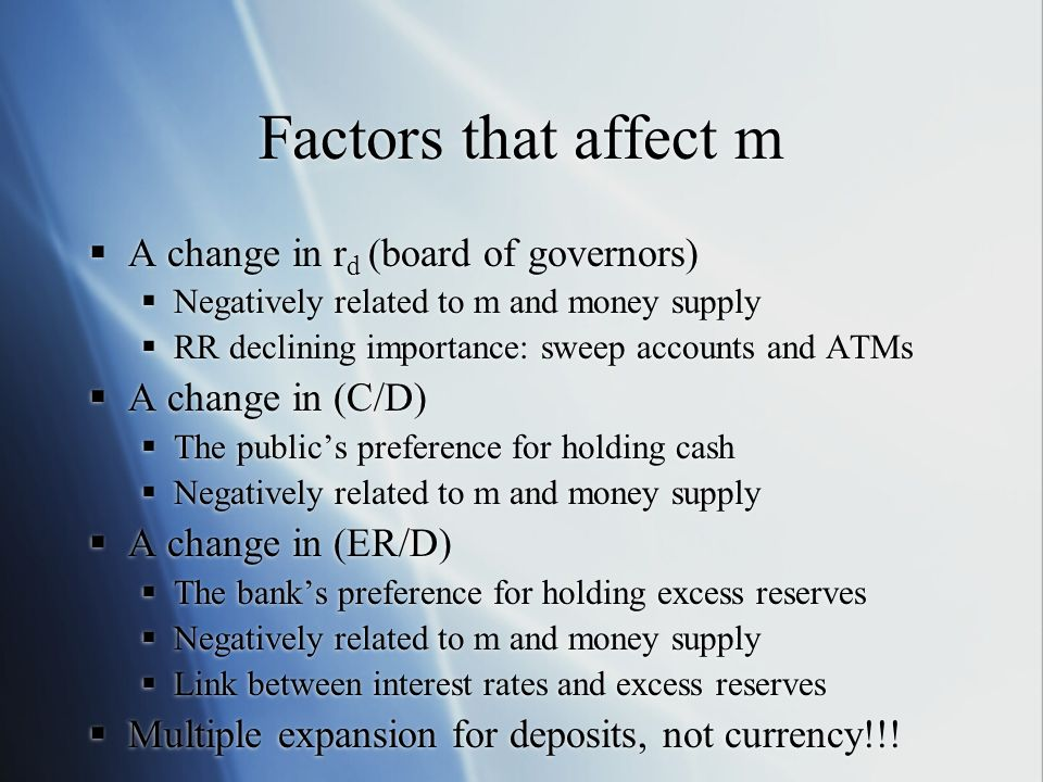 Factors that affect m A change in rd (board of governors)