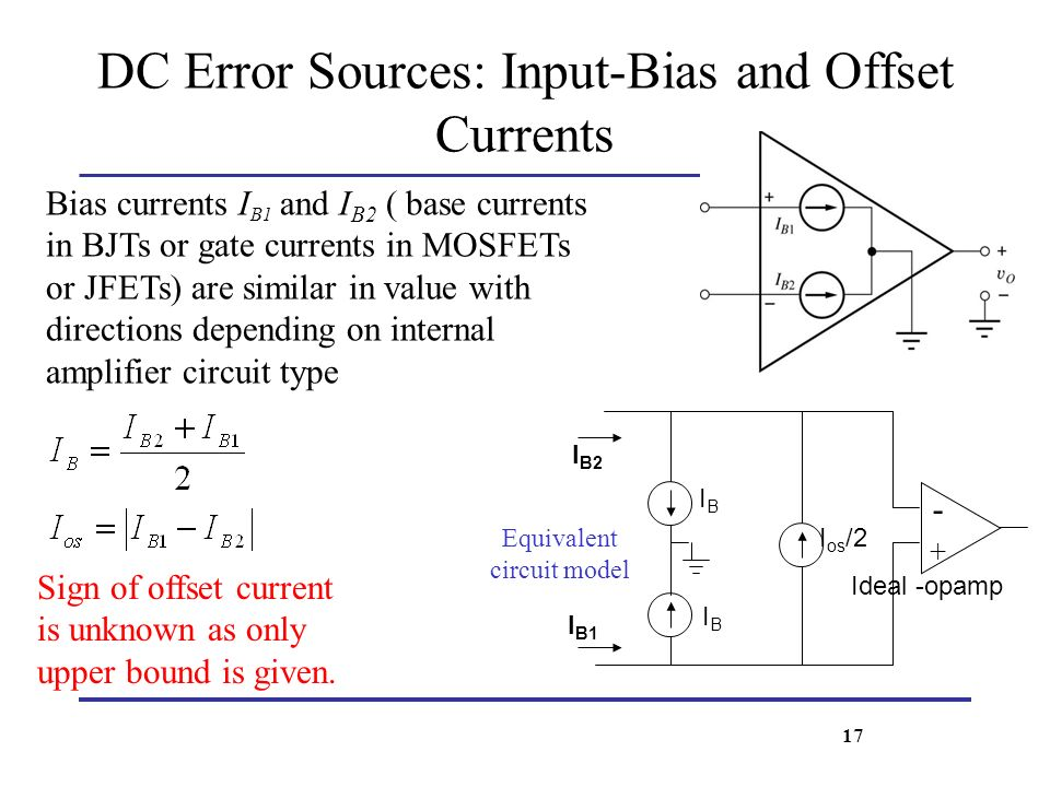 DC Error Sources: Input-Bias and Offset Currents