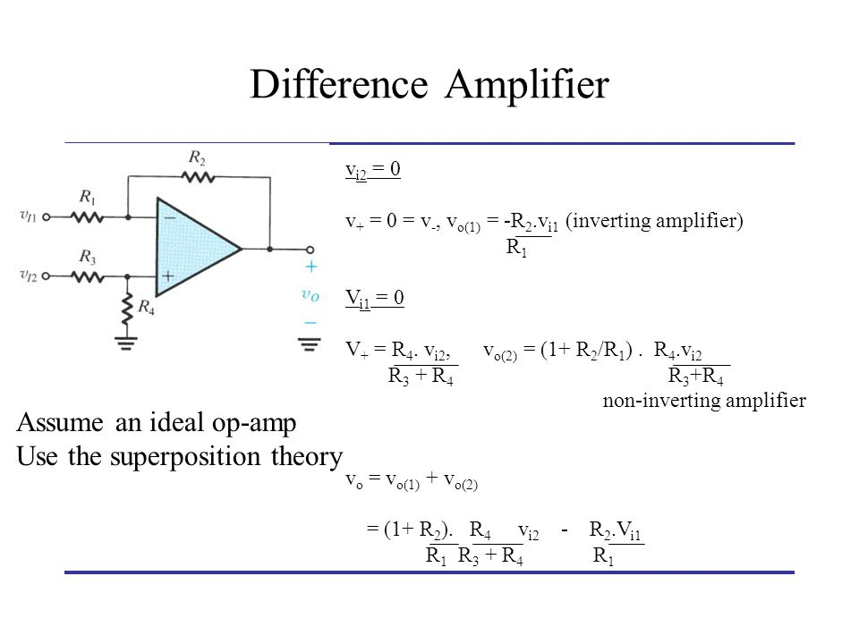Difference Amplifier Assume an ideal op-amp