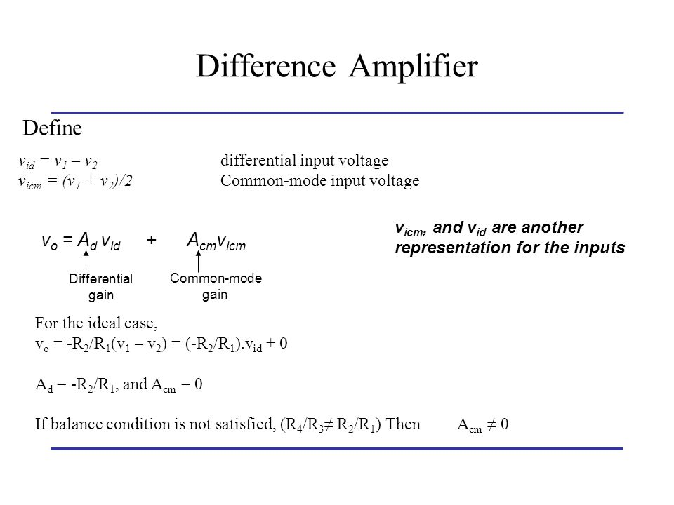 Difference Amplifier Define vo = Ad vid + Acmvicm