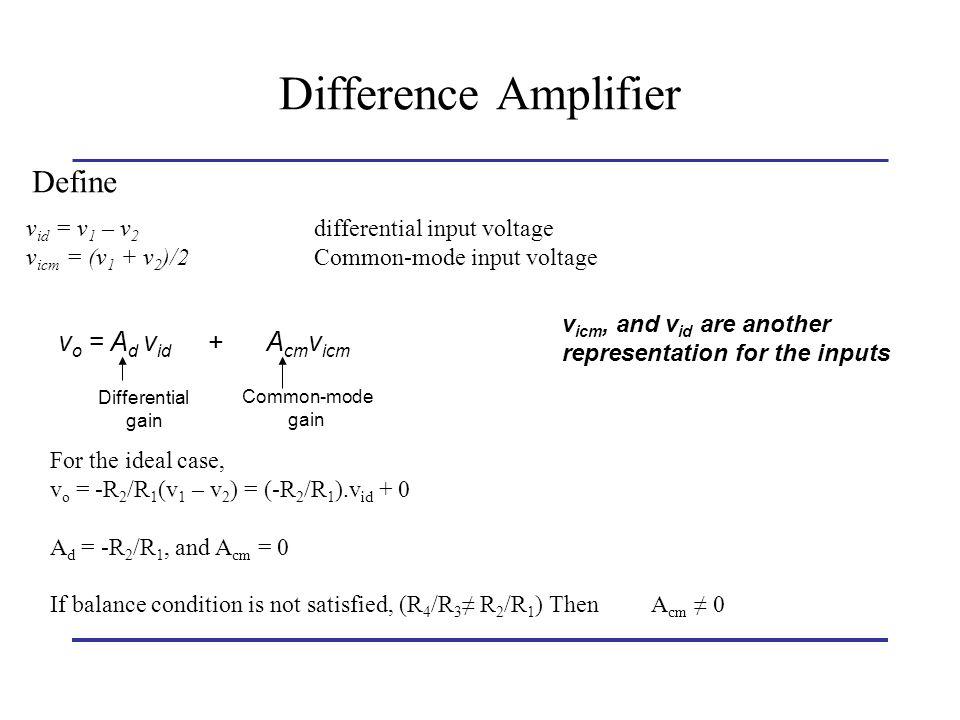 Difference Amplifier Define vo = Ad vid + Acmvicm