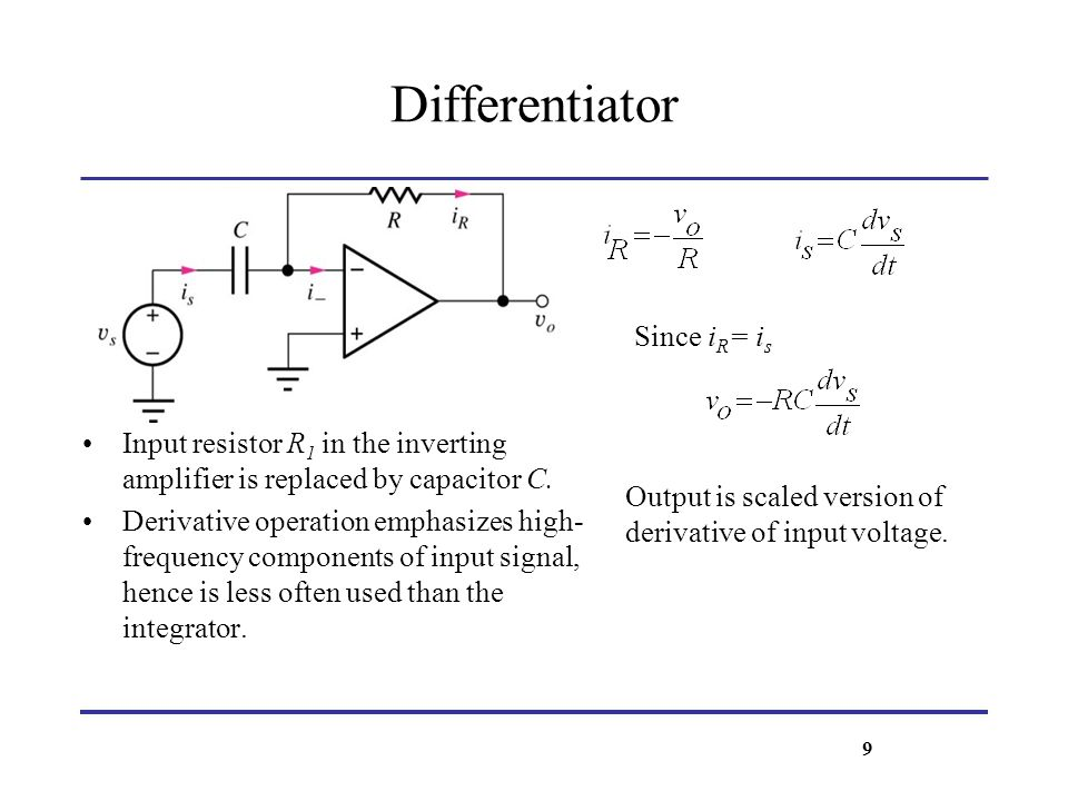 Differentiator Since iR= is