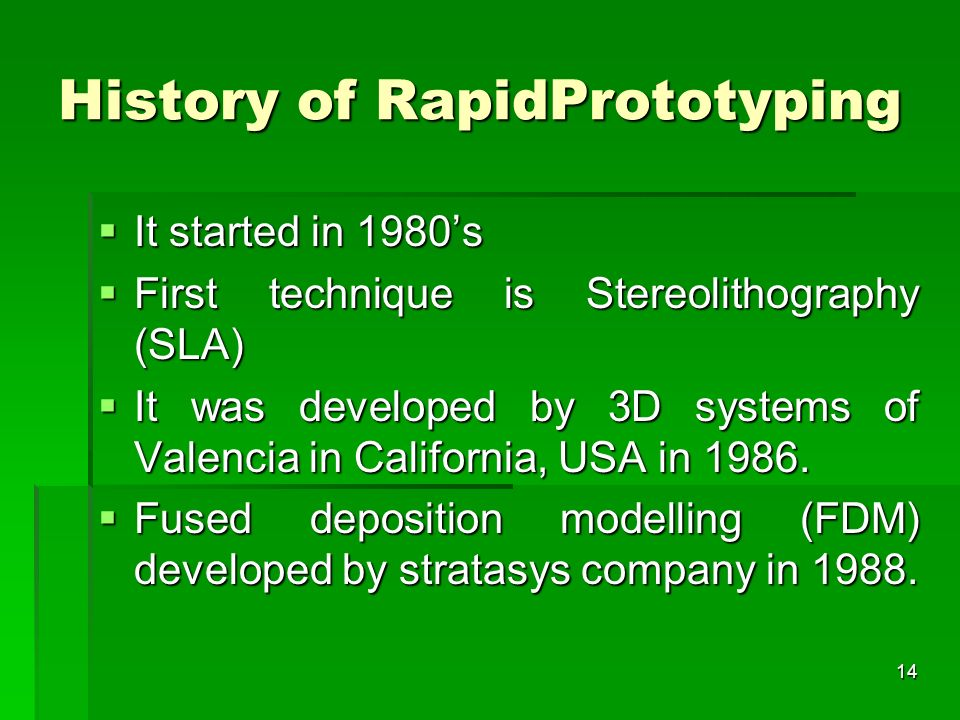 History of RapidPrototyping