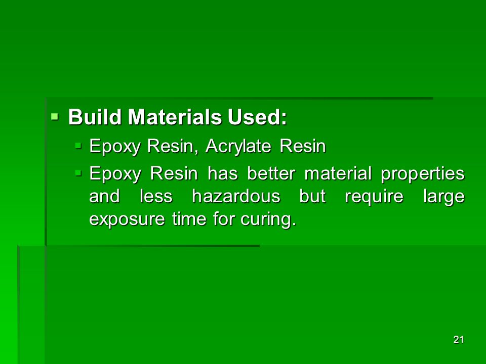 Build Materials Used: Epoxy Resin, Acrylate Resin