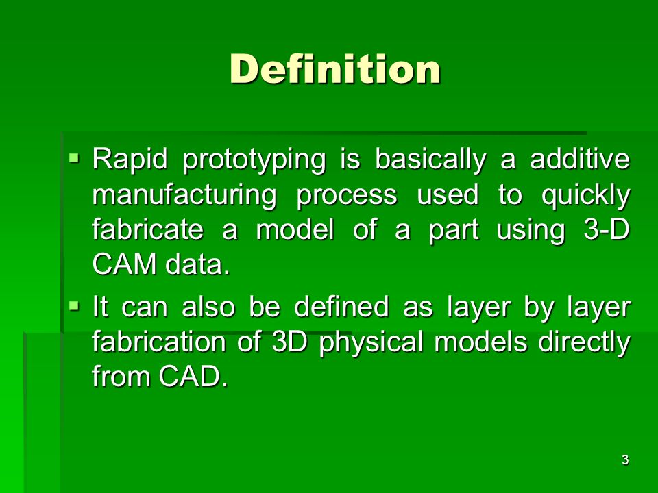 Definition Rapid prototyping is basically a additive manufacturing process used to quickly fabricate a model of a part using 3-D CAM data.