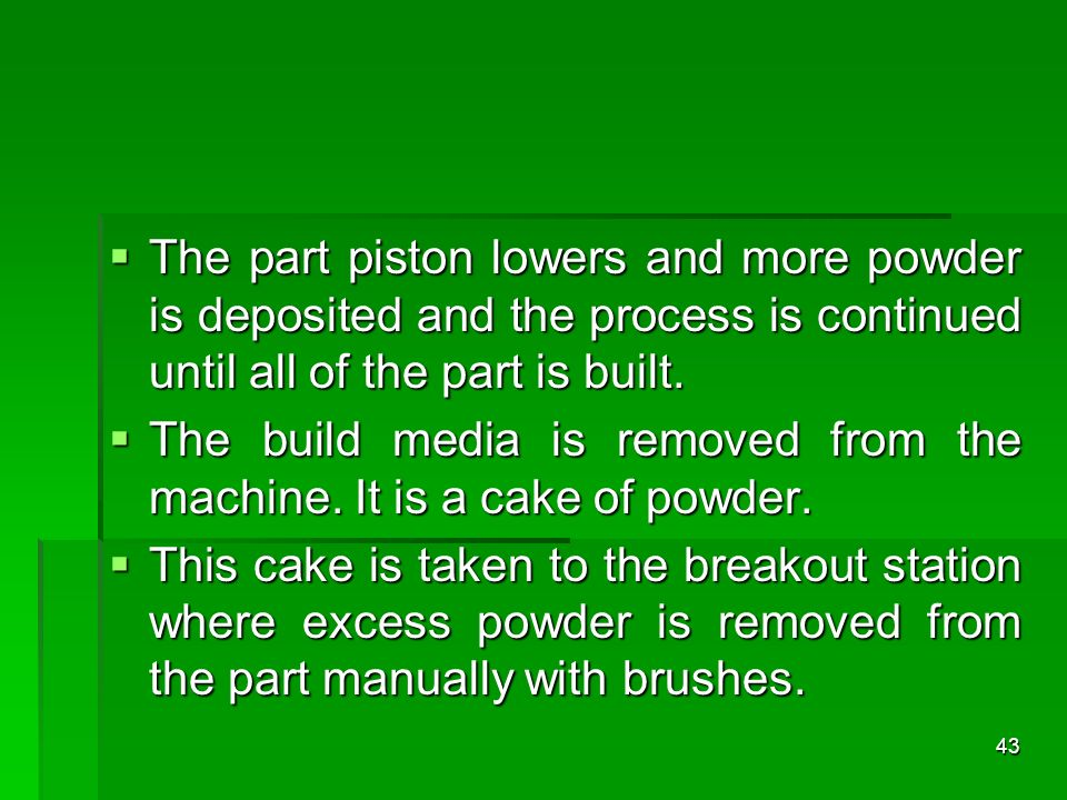 The part piston lowers and more powder is deposited and the process is continued until all of the part is built.