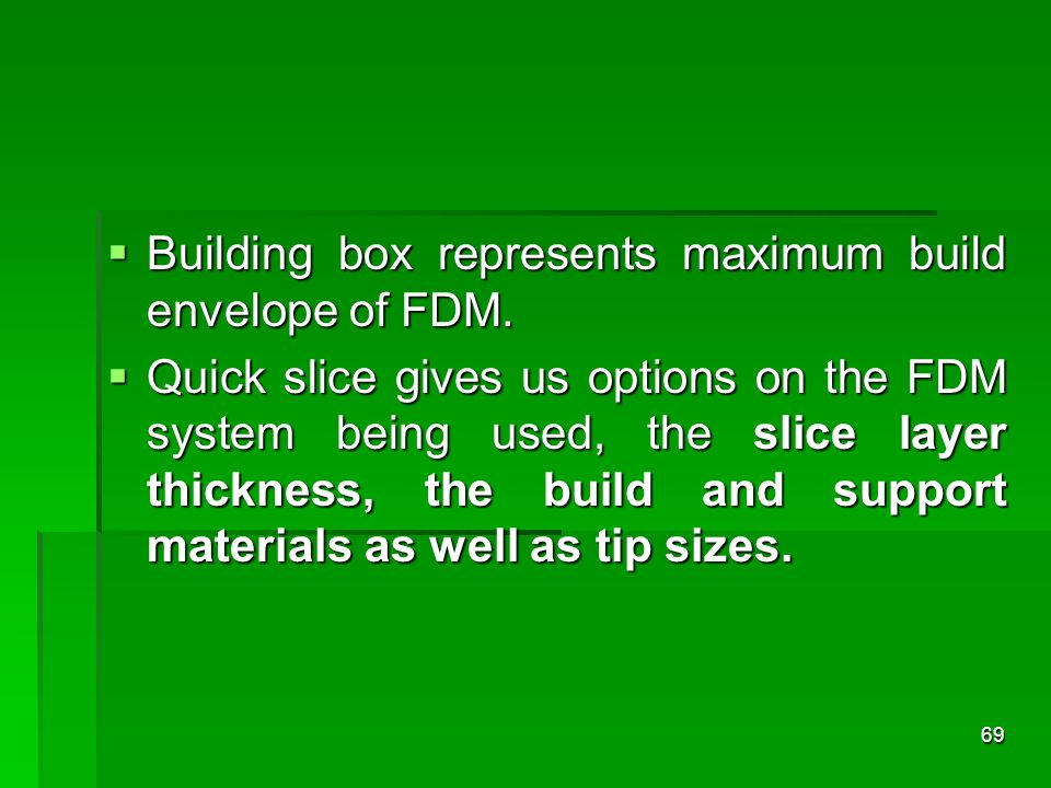 Building box represents maximum build envelope of FDM.