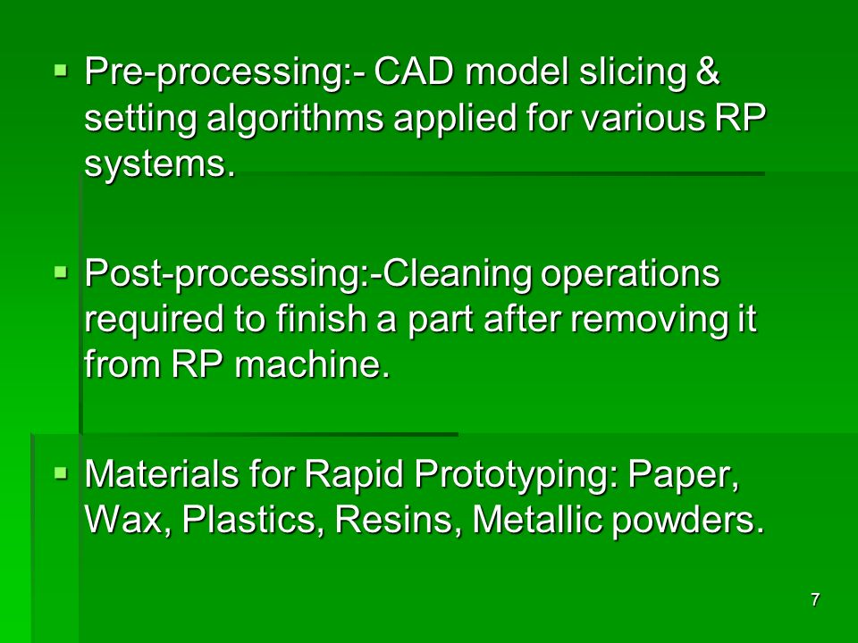 Pre-processing:- CAD model slicing & setting algorithms applied for various RP systems.
