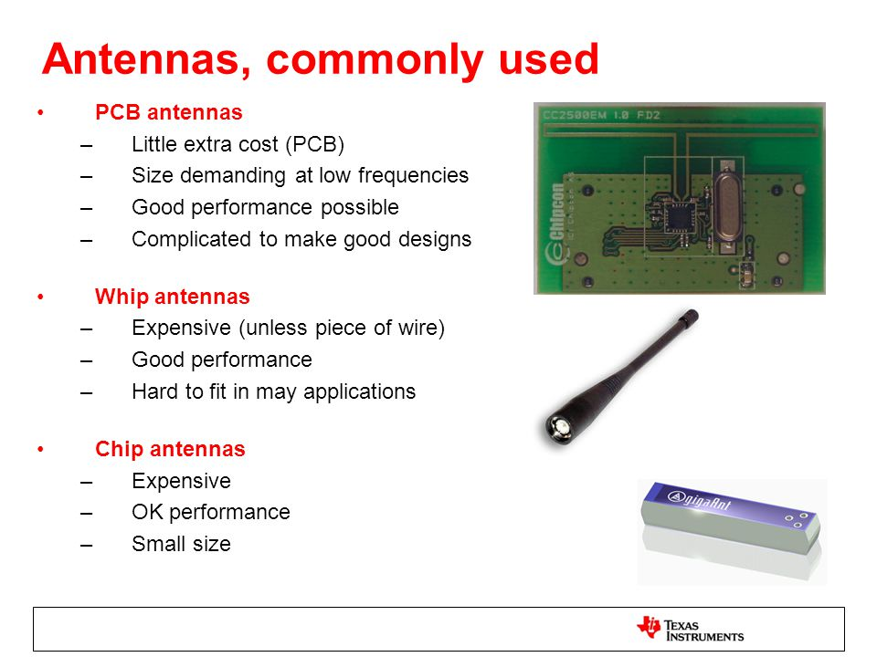Antennas, commonly used