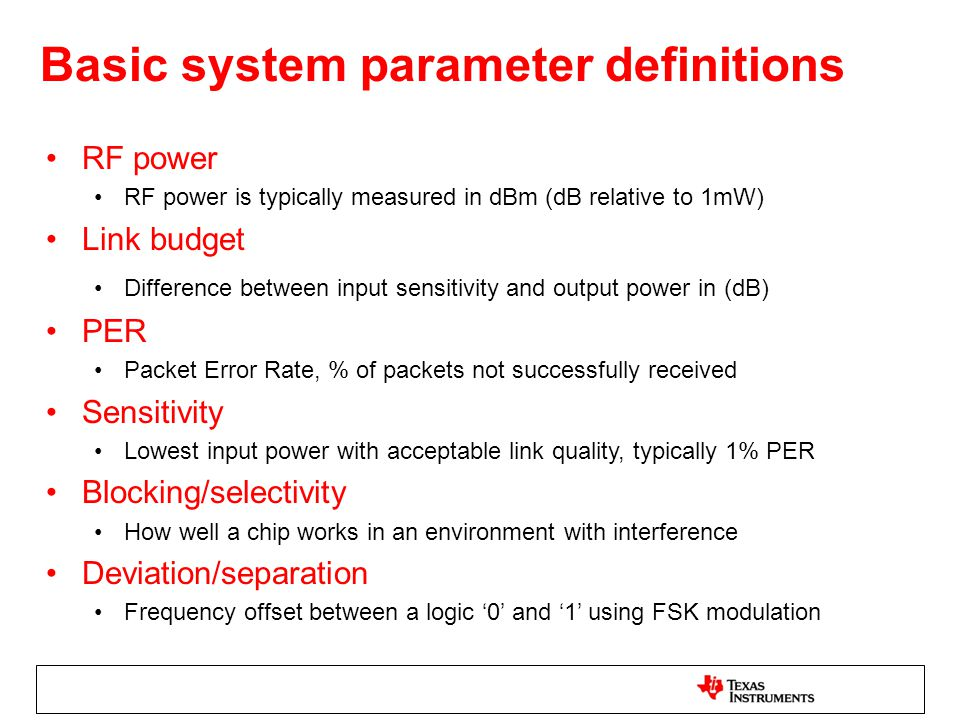 Basic system parameter definitions