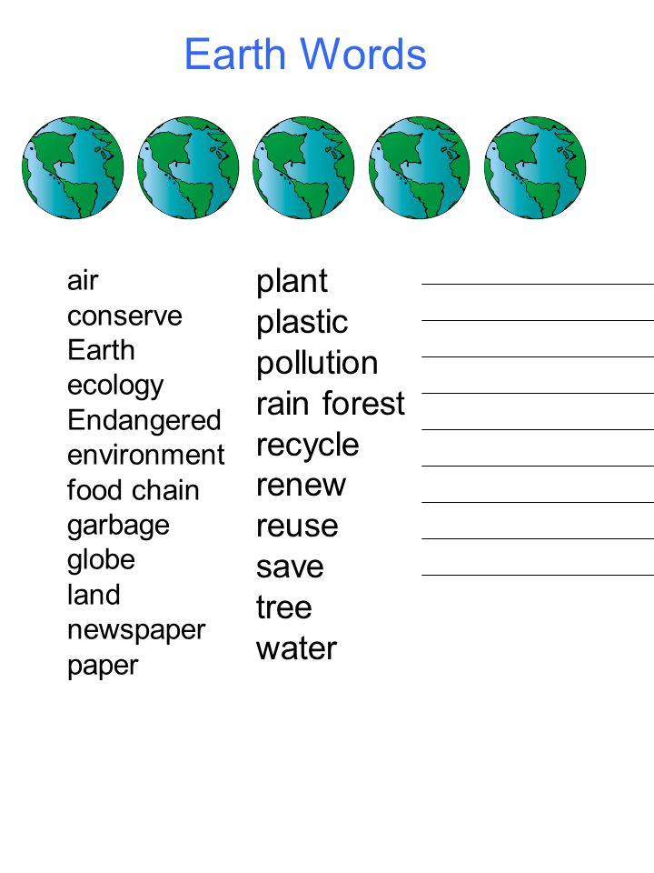 Earth Words plant plastic pollution rain forest recycle renew reuse