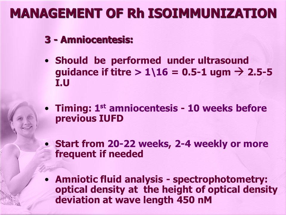 MANAGEMENT OF Rh ISOIMMUNIZATION