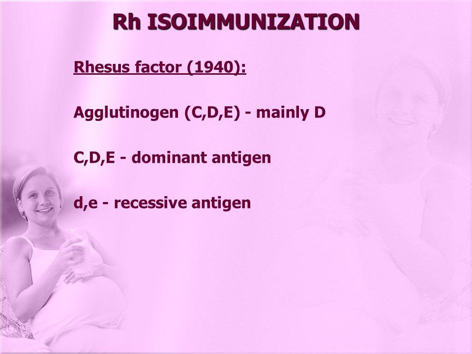 Rh ISOIMMUNIZATION Rhesus factor (1940):