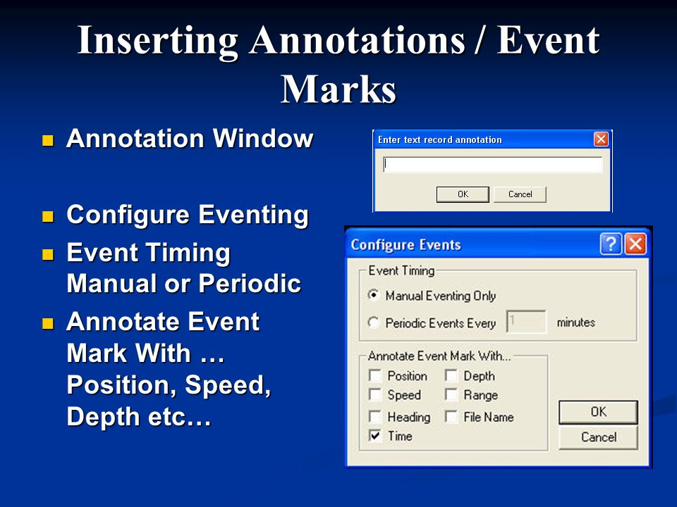Inserting Annotations / Event Marks