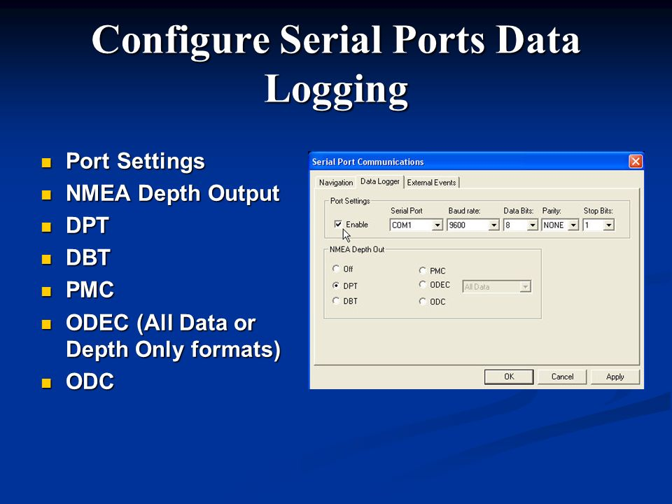 Configure Serial Ports Data Logging