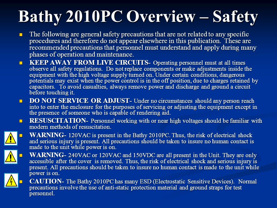 Bathy 2010PC Overview – Safety