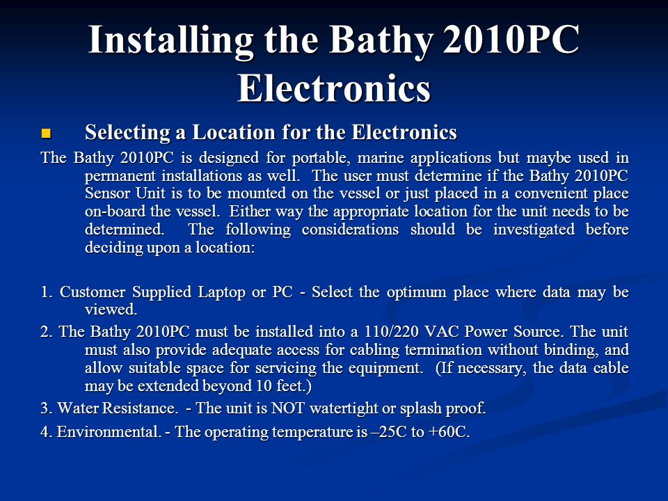 Installing the Bathy 2010PC Electronics
