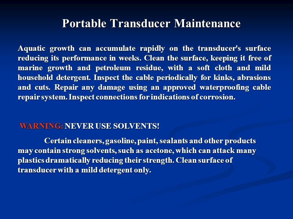 Portable Transducer Maintenance