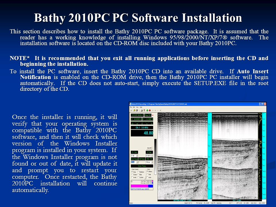Bathy 2010PC PC Software Installation