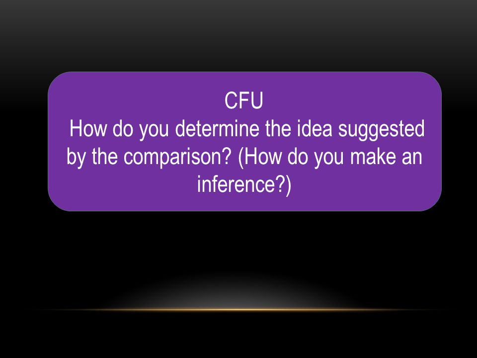CFU How do you determine the idea suggested by the comparison (How do you make an inference )