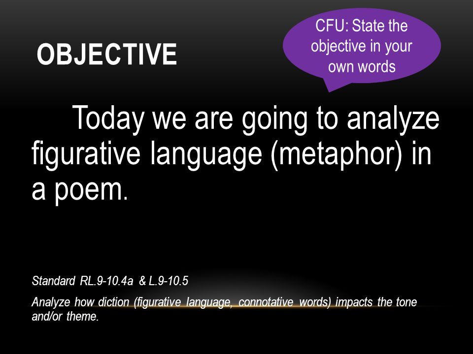 CFU: State the objective in your own words