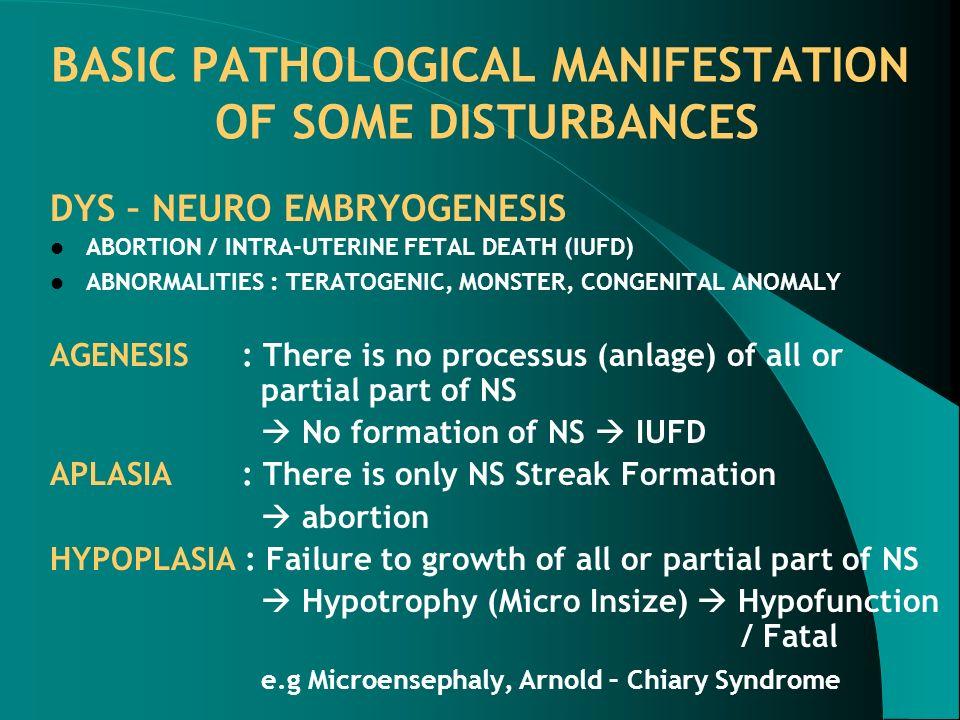 BASIC PATHOLOGICAL MANIFESTATION OF SOME DISTURBANCES