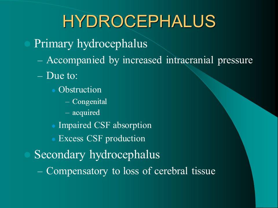 HYDROCEPHALUS Primary hydrocephalus Secondary hydrocephalus