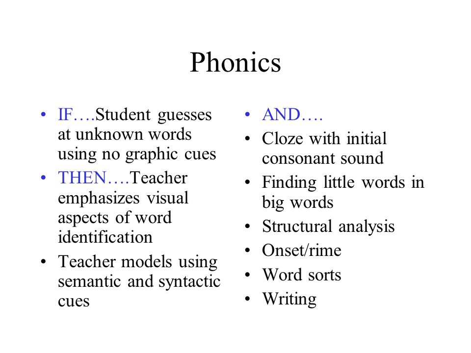 Phonics IF….Student guesses at unknown words using no graphic cues
