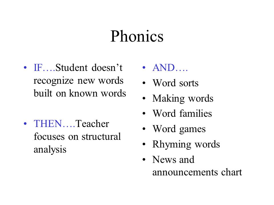 Phonics IF….Student doesn't recognize new words built on known words