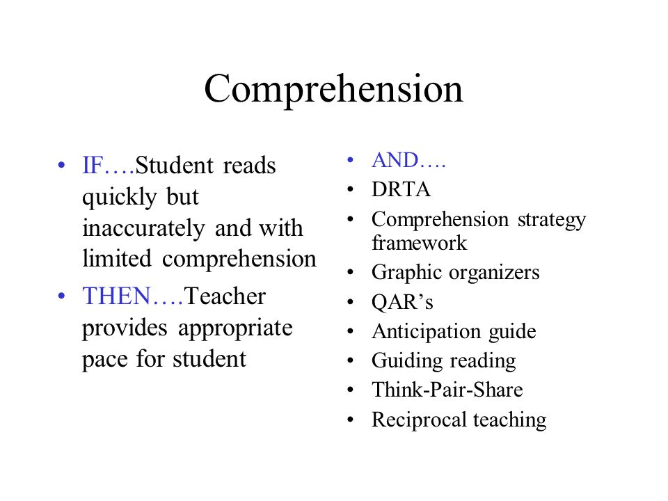 Comprehension IF….Student reads quickly but inaccurately and with limited comprehension. THEN….Teacher provides appropriate pace for student.