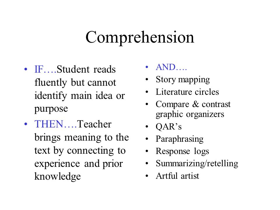 Comprehension IF….Student reads fluently but cannot identify main idea or purpose.